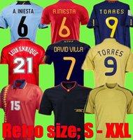Retro Jerseys 2008 2012 1996 1994 Final 2010 Espanha Raul A.iniesta Pique Xavi Torres David Villa Camiseta Camisa de futebol