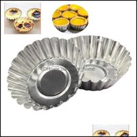 Tools Bakeware Kitchen, Dining Bar Home & Garden 10Pcs Set Egg Tart Aluminum Cupcake Cake Cookie Mold Lined Mod Tin Baking Tool Drop Deliver
