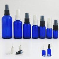10pcs Piccolo vuoto 10 20 30 50 100 ml Bottiglia di vetro blu con pompa sierica lozione 1oz 1/2 once campione Crema cosmetica Bottiglie di stoccaggio barattoli