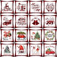 Taie d'oreiller de Noël Cartoon Plaid imprimé Tamping Coussins de Noël Coussins Coussins Coussins Home Office Salon Salon Décor DWD10124