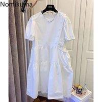 Nomikuma Causal Buttons Puff Sleeve Dresses Korean Pocket Fashion Vestidos Summer New High Waist A-line Woman Dress 6H281 210427