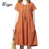 Uego Short Sleeve Soft Cotton Linen Loose Summer Dress Plus Size Women Casual Dress 2021 New Arrival Lady Dress Female vestidos Q0712