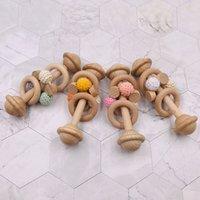 DIY Natural Wooden Baby Pacifiers 크로 셰 뜨개질 젖니가없는 구슬 Teether 유아 먹이 신생아 치아 연습 장난감 1383 B3