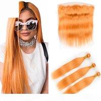 Reines orange brasilianisches gerades menschliches haar 3bundles mit frontal orange farbe menschliche haare weave fefts mit vollen spitze frontal schließung 13x4