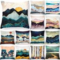 Doğal Manzara Yastık Kapak Ev Dekorasyonu Dağ Baskılı Kılıf Kanepe Araba Iç Yatak Odası Için 45 * 45 Vintage Kişiselleştirilmiş Hediye Yastık / Decorat