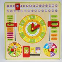 Wooden multi-function Building blocks digital calendar cognitive learning children puzzle toy alarm clock