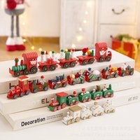 Wholesale DIY New Christmas Wooden Train Holiday Gift Green White Red Wheel Train Snowflake Painted Christmas Decorations Furniture Ornament