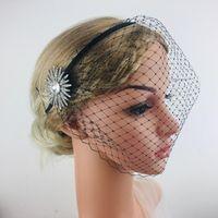 Gelin Veils Bling Yan Kristal Kafa Peçe Siyah Birdcage Yüz Net Saç Takı Aksesuarları için Büyüleyici Düğün Fascinators