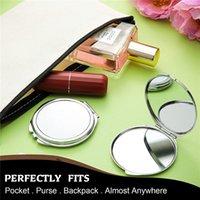 Sublimation Blank Mirror Metal Mini Makeup Mirrors Round Heart-Shaped Flip Travel Mirro r Christmas Gift