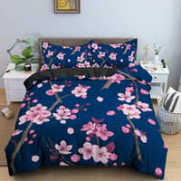 Bedding Sets Pink Flower Luxury Style Cherry Blossoms Duvet Cover Pillowcases Twin Queen King Size