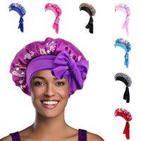 Beanie Skull Caps Silk Night Sleep Cap Hair Bonnet Hat Head Cover Satin Turban Wrap Headscarf Floral Solid Dot Chemo Nightcap Scarf 2021
