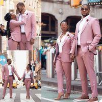 Couples de haute qualité Formel Tuxedos Rose Slim Fit Cuissons Entreprise Groom De Mariage Prom Party Outfit (veste + pantalon)