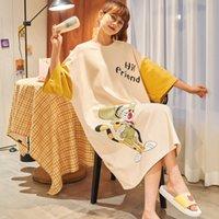 Nightdresses Verão Desenhos Animados Soltos Gordura Mímpia Pijama Pijamas Aumentar o lazer do comprimento Pode usar a camisola da senhora de algodão