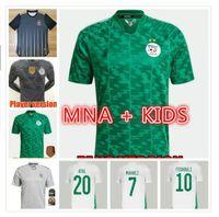 Algerie 2021 Футбол Джерси Главная подальше от Mahrez Bounedjah Feghouli Bennacer Atal 20 21 Algeria Maillot De Fepe Man + Kids Kit