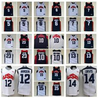 Basquete 2012 equipe EUA Jersey Kevin 5 Durant LeBron 6 James 12 Harden Russell 7 Westbrook Chris 13 Paul Deron 8 Williams Anthony 23 Davis