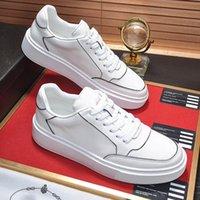 40% DESCUENTO ACE Luxury Designer Shoes 2021 Mans Spring Otoño Negro Blanco Blanco Zapato de cuero Casual Lienzo Moda Hombres jóvenes con caja original