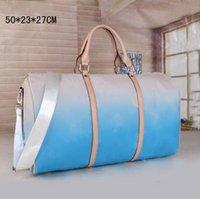 50 cm Büyük Kapasiteli Kadın Seyahat Çantaları Degrade Renk Yüksek Kalite Erkekler Omuz Duffel Çanta