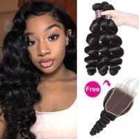 Comprar 3bundles Obter um fechamento grátis Profunda extensões de cabelo solto Brasileiro pacotes de cabelo humano com fecho solto onda yaki onda de água reta