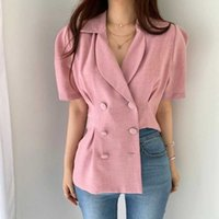 Blazer & Suits Chic Fashion Summer Retro Pleated Puff Short Sleeve Turn Down Collar Blazers Jacket Double-breasted Back Split 210610