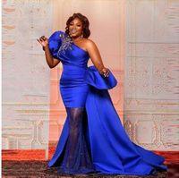 One Shoulder Royal Blue Luxury Mermaid Evening Dresses Short Sleeve Pageant Prom Formal Party Gowns robes de soirée Abendkleider