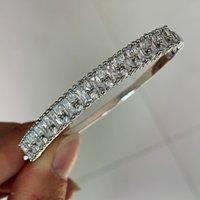 2019 top selling jóias de luxo 925 esterlina prata cirle pulseira princesa corte branco topázio cz diamond parrty wrist mulheres pulseira caixa de presente