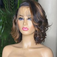 Short Bob Highlight Remy Human Hair 13x4 Lace Front Wigs 180 Density Pre Plucked Hairline 13x6Lace Frontal Blonde Humans Hairs Wig full lacewigs