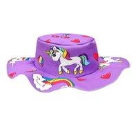 Çocuklar Kızlar Geniş Ağız Yaz Kova Şapka Sevimli Gökkuşağı Unicorn Baskılı Çocuk Balıkçı Kapaklar Öğrenciler Okul Şapkalar Güneş Visor Güneş Koruyucu Headdress 33 G80Wuxc