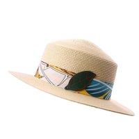 Womens Summer Straw Hat DIY Beach Sun Cap Ladies Flat Top Fedora for Traveling