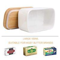Pratos Placas caixa de selagem de manteiga nórdica, placa de cerâmica, branco, com tampa de madeira e faca, prato de bandeja de armazenamento de queijo 500 / 650ml