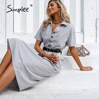 Simplee Casual Açık Gri Yüksek Bel Düğmesi kadın Elbise Katı Kısa Kollu Yaz Elbiseler 2021 Moda Kıyafet Maxi Vestidos