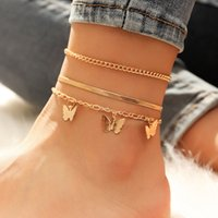 3 pz / set Cute Butterfly Anklets per donna catena catena per le donne Beach piede gioielli gamba catena di caviglia Braccialetti Donne Accessori