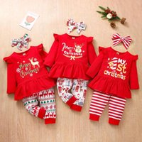 Clothing Sets Baby Girls Clothes Christmas Xmas Cartoon Deer Letter Printed Ruffles Tops+pants 2pc Outfits Toddler Born Infant Set