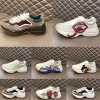 Hommes Rhyton Casual Shoes Vintage Dad Sneakers Paris Fashion Femmes Platform Sports Formateurs Strawberry Souris Wave Wave Wave Tiger Web Print Shoe