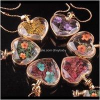 Drop-Lieferung 2021 Herz-Form-Lampwork-Glas-Anhänger Aromatherapie Anhänger Halsketten Schmuck Trockene Blumen pro Vial-Flaschenpreis2955 YQOMA