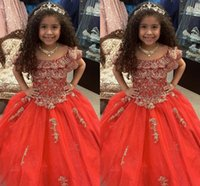 2022 Red and Gold Embroidery Girls Pageant Prom Dresses off the Shoulder with Sleeve BallGown Long Glitter Sequined Tulle Ruched Flower Girl First Communion Dress