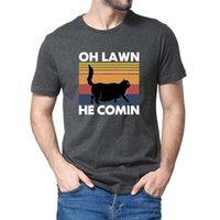 Erkek t-shirt grafik siyah kedi chonk oh çim o komik hediye üst tee geliyor