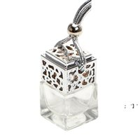Cube Hollow Car Perfume Bottle Rearview Ornament Hanging Air Freshener For Essential Oils Diffuser Fragrance Empty Glass Bottle BWF10942