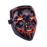 Maschera horror halloween Led Maschere incandescente Maschere di spurgo Maschere Maschere Elezione Costume DJ Party Light Up Masks Glow in Dark 10 Colori 1057 B3