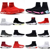 En Sıcak Satış Orijinal Paris Ayakkabı Adam Kadın Hız Trainer Çorap 1.0 Yürüyüş Bayan Siyah Beyaz Kırmızı Dantel Çorap Spor Sneakers Üst Botlar Temizle Sole Sneaker Rahat Ayakkabılar