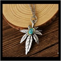 Necklaces Pendants Drop Delivery 2021 925 Sterling Sier Feather Eagle Maple Leaf Turquoise Natural Crystal Men Women Necklace Pendant Jewelry