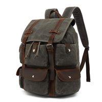 Backpack Casual Vintage Canvas Leather Waterproof Travel Mochila Masculina Rucksack Men Waxed Laptop Bag