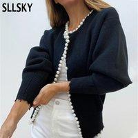 Sllsky 우아한 진주 단추 블랙 화이트 카디건 여성 2021 가을 겨울 특대 긴 소매 패션 레이디 니트 스웨터