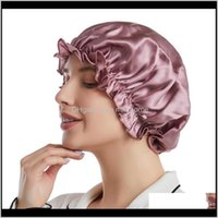 Bathroom Aessories Bath Home & Garden100Percent Mulberry Silk Sleeping Cap Night Wrap Head Er For Hair Care Elastic Band Shower Bonnet L Size