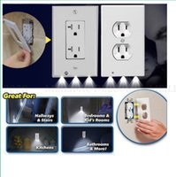 Plug Cover LED Night Light PIR Motion Sensor Safety Light Angel Wall Outlet Hallway Bedroom Bathroom Night Lamp Electrical Outlet Wall Plate With LED