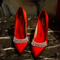 Dress Shoes Spring Pointed Stiletto High-heeled Rhinestone Tassel Chain Bridal Wedding All-match Banquet Silk Womens Single Shoe