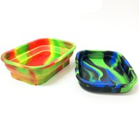 Free DHL Silicone Fold Rolling Trays Flexible Durable Boxes Pipe Dry Herb Storage Soft Portable Colorful Printed Carts Holders