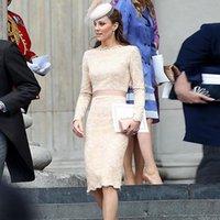 Günlük Elbiseler Kate Middleton Yüksek Kalite Yaz 2021 kadın Parti İşyeri Zarif Chic Gentlewoman Moda Dantel Kalem Elbise