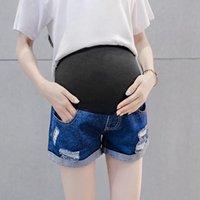 Shorts Femmes Femmes Printemps Maternité Maternité Courte Pantalon Grossesse Jeans Enceans Automne ventre Denim Lâche # T1G