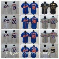 2020 Uomo Baseball 20 Pete Alonso Jersey 48 Jacob degent 18 Ryan Cordell Tutto cucito FlexBase Base Cool Bianco Blu bianco grigio nero