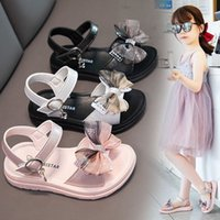 Summer Korean Girls Sandals Princess Bow Fashion Beach Open-toed Soft Sole Lightweight Student Shoes